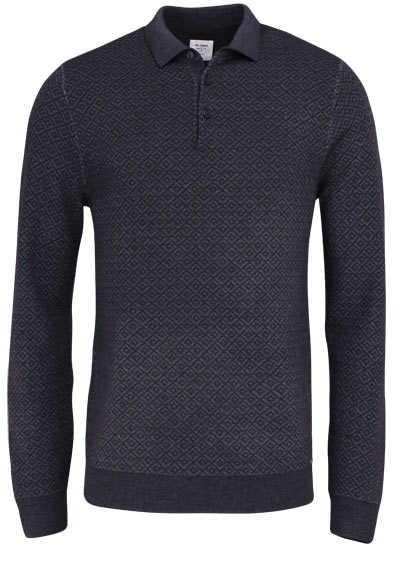 OLYMP Level Five Polo Langarm geknöpfter Kragen Muster braun - Hemden Meister
