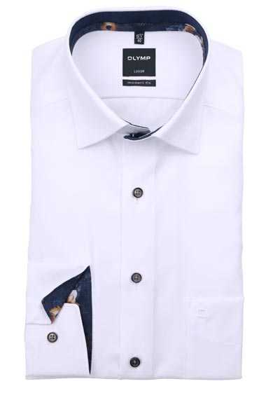 OLYMP Luxor modern fit Hemd Langarm Under Button Down Muster weiß