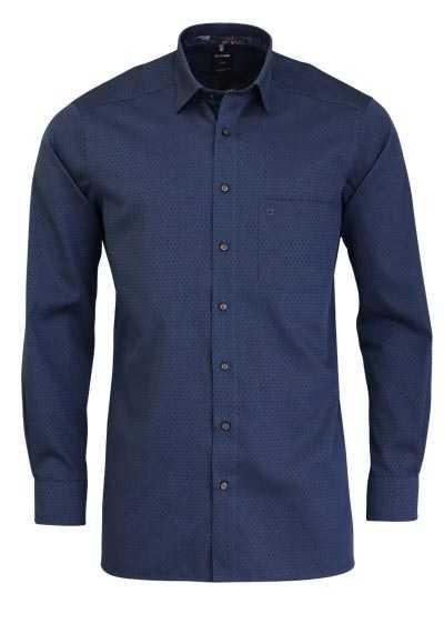 OLYMP Luxor modern fit Hemd Langarm Under Button Down Muster blau - Hemden Meister