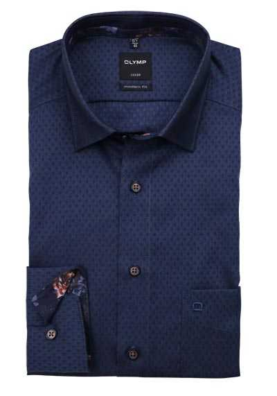 OLYMP Luxor modern fit Hemd Langarm Under Button Down Muster blau