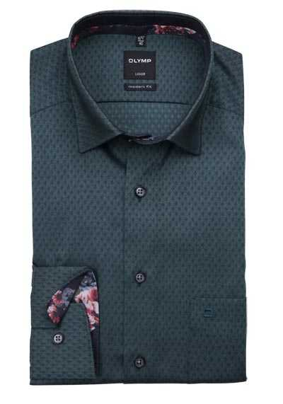 OLYMP Luxor modern fit Hemd Langarm Under Button Down Muster grün