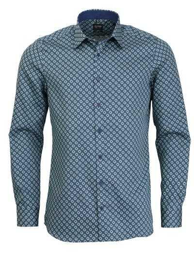 OLYMP Level Five body fit Hemd extra langer Arm Muster grün - Hemden Meister