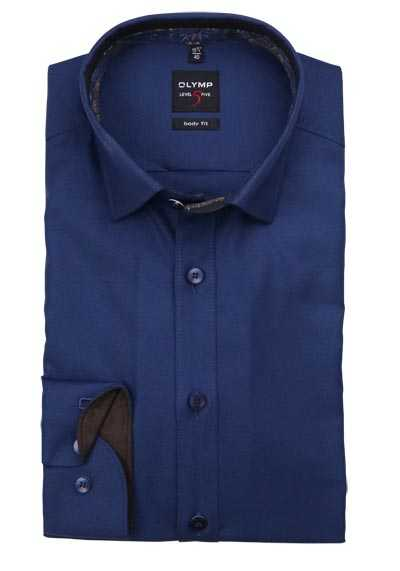 OLYMP Level Five body fit Hemd extra langer Arm Struktur navy