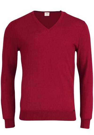 OLYMP Level Five Stick body fit Pullover V-Ausschnitt dunkelrot