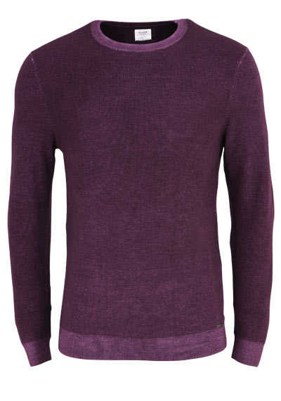 OLYMP Level Five Strick body fit Pullover Rundhals Struktur aubergine preisreduziert