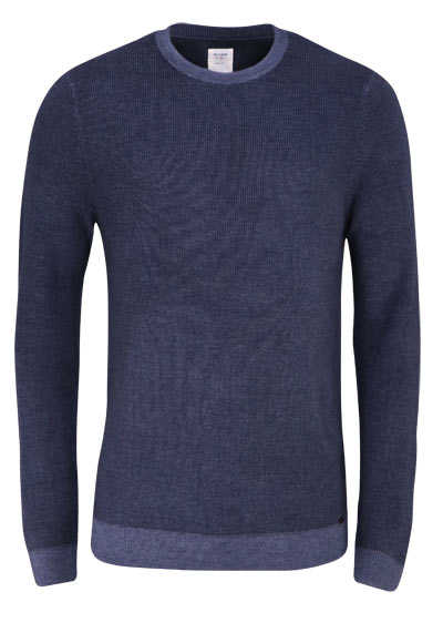 OLYMP Level Five Strick body fit Pullover Rundhals Struktur dunkelgrau preisreduziert