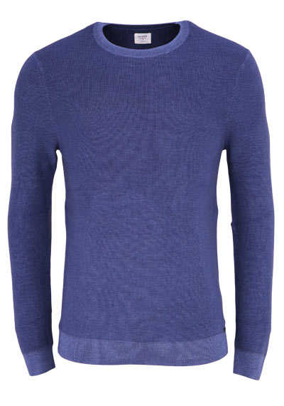 OLYMP Level Five Strick body fit Pullover Rundhals Struktur mittelblau preisreduziert