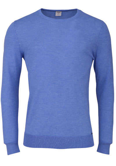 OLYMP Level Five Strick body fit Pullover Rundhals blau preisreduziert