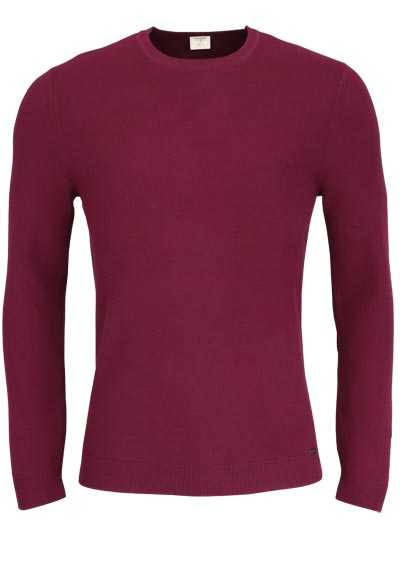 OLYMP Level Five Strick body fit Pullover Rundhals dunkelrot
