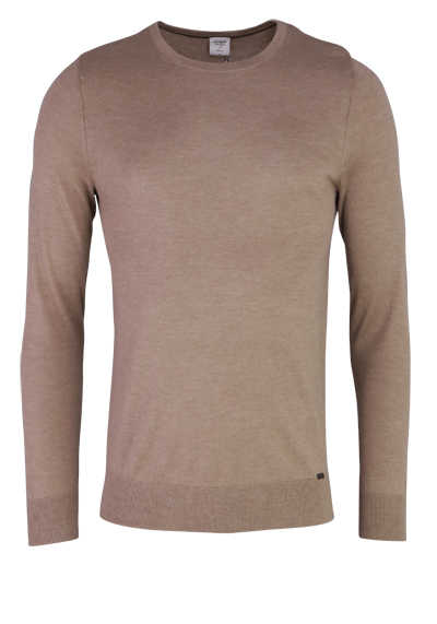 OLYMP Level Five Strick body fit Pullover Rundhals hellbraun
