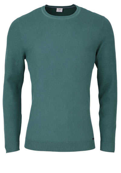 OLYMP Level Five Strick body fit Pullover Rundhals jägergrün preisreduziert