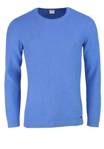 OLYMP Level Five Strick body fit Pullover Rundhals mittelblau