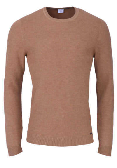 OLYMP Level Five Strick body fit Pullover Rundhals mittelbraun preisreduziert