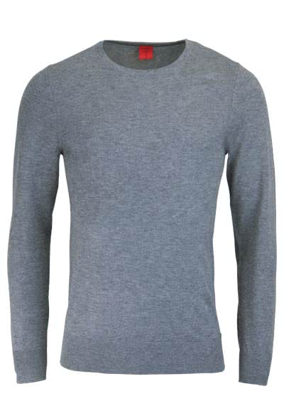 OLYMP Level Five Strick body fit Pullover Rundhals mittelgrau preisreduziert