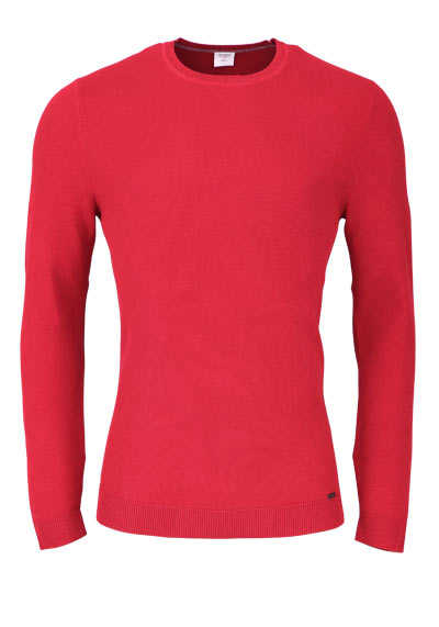 OLYMP Level Five Strick body fit Pullover Rundhals mittelrot preisreduziert