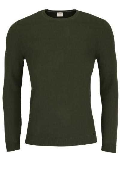 OLYMP Level Five Strick body fit Pullover Rundhals moos