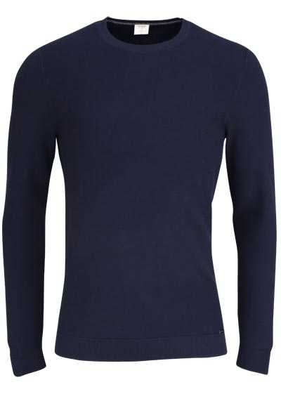 OLYMP Level Five Strick body fit Pullover Rundhals nachtblau