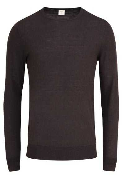 OLYMP Level Five Strick body fit Pullover Rundhals schwarzbraun preisreduziert