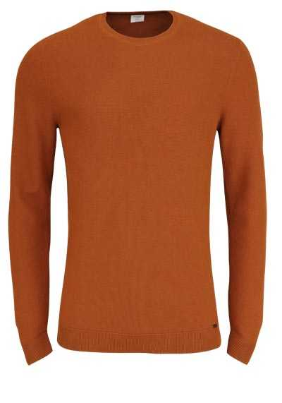 OLYMP Level Five Strick body fit Pullover Rundhals terracotta preisreduziert