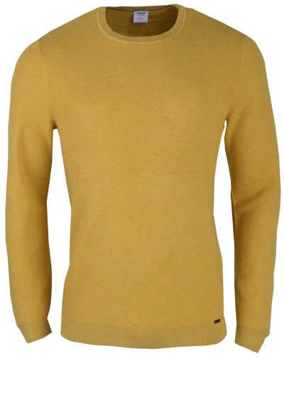 OLYMP Level Five Strick body fit Pullover Rundhals zitronengelb