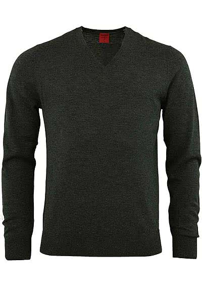 OLYMP Level Five Strick body fit Pullover V-Ausschnitt anthrazit preisreduziert