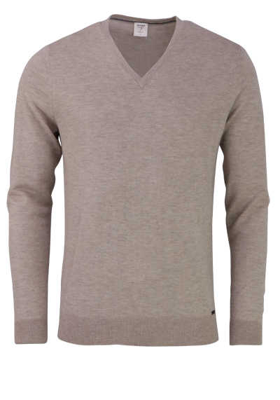 OLYMP Level Five Strick body fit Pullover V-Ausschnitt beige