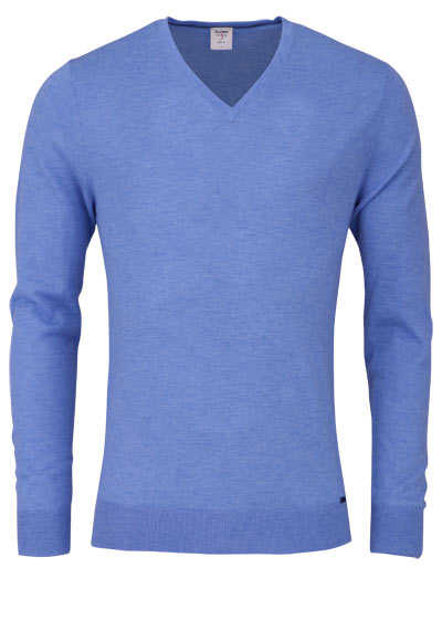 OLYMP Level Five Strick body fit Pullover V-Ausschnitt blau