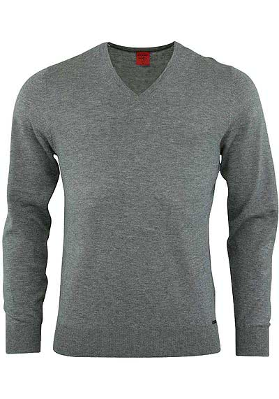 OLYMP Level Five Strick body fit Pullover V-Ausschnitt  mittelgrau