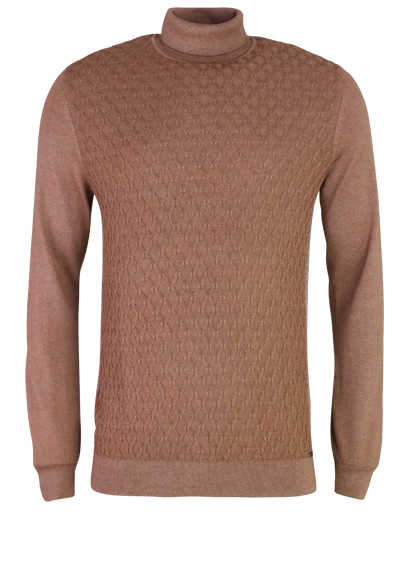 OLYMP Level Five Strick body fit Rollkragenpullover camel