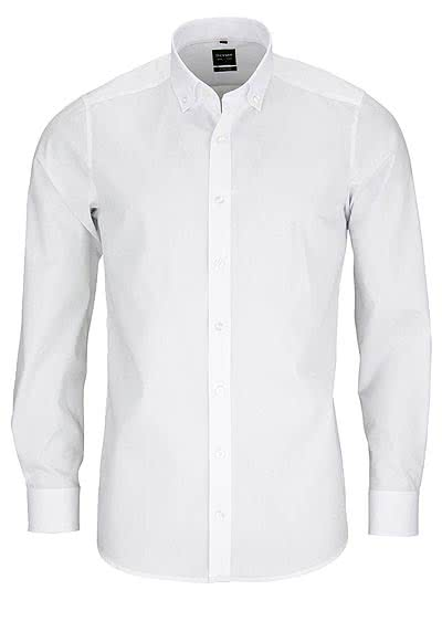 OLYMP Level Five body fit Hemd Langarm Button Down Stretch weiß
