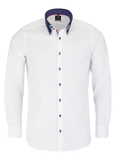 OLYMP Level Five body fit Hemd Langarm Under Button Down Kragen weiß