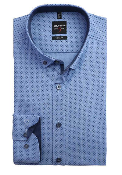 OLYMP Level Five body fit Hemd extra langer Arm Button Down Kragen Punkte blau