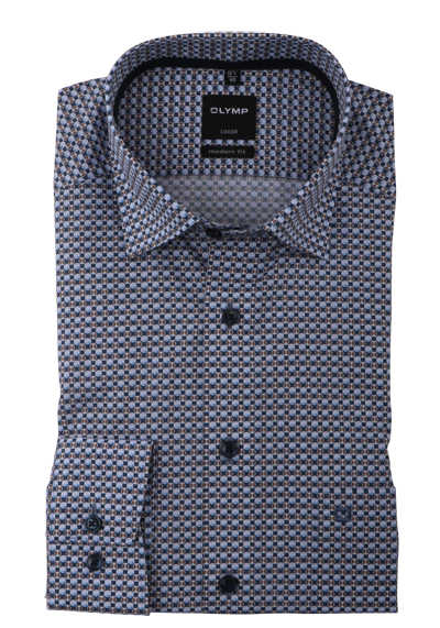 OLYMP Luxor modern fit Hemd Langarm Under Button Down Kragen Muster blau