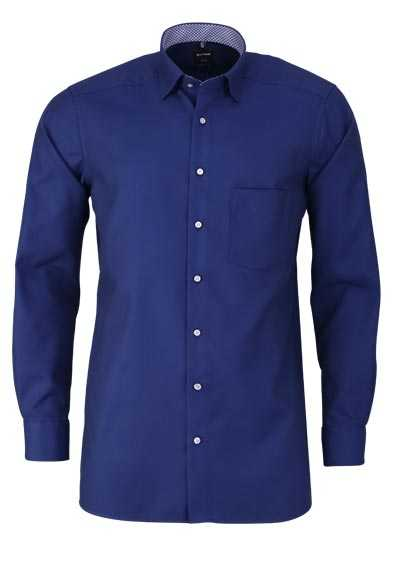 OLYMP Luxor modern fit Hemd Langarm Under Button Down Kragen nachtblau