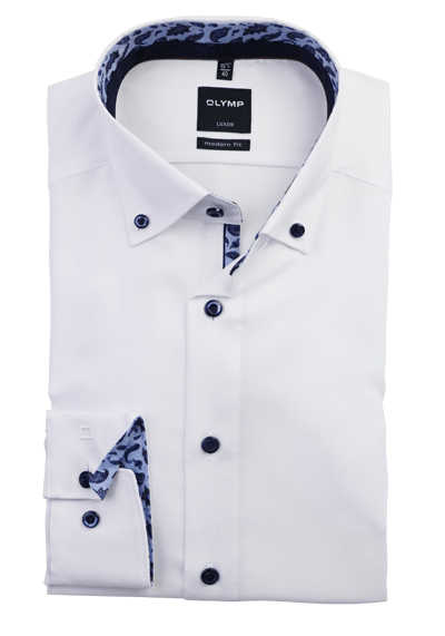 OLYMP Luxor modern fit Herrenhemd Langarm Button Down Kragen weiß