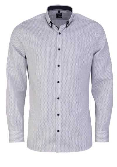 OLYMP No. Six super slim Hemd Langarm Button Down Kragen Muster weiß