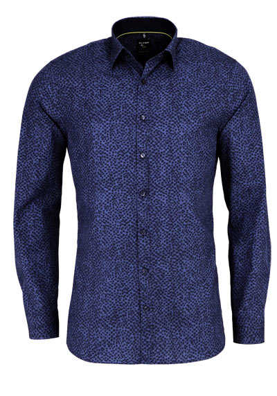 OLYMP No. Six super slim Hemd Langarm Stretch Muster blau