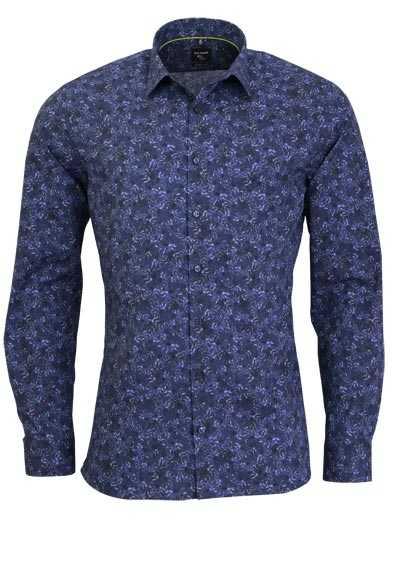 olymp super slim hemd extra langer arm muster blau. Black Bedroom Furniture Sets. Home Design Ideas