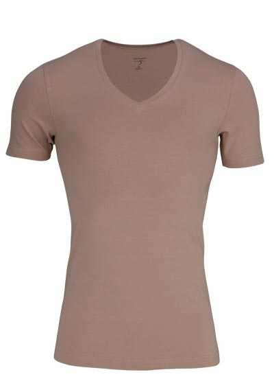 OLYMP T-Shirt Level Five body fit V-Ausschnitt beige