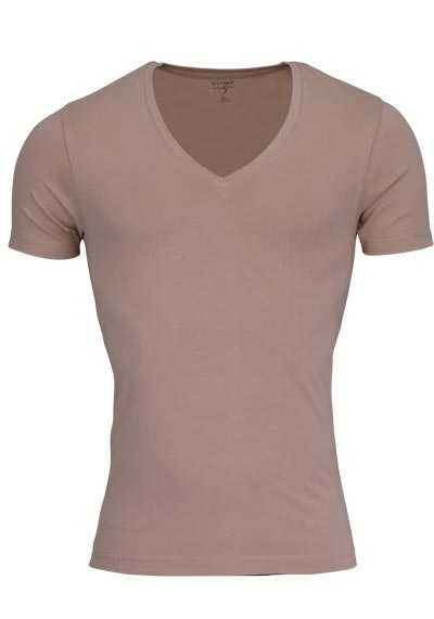 OLYMP T-Shirt Level Five body fit tiefer V-Ausschnitt beige