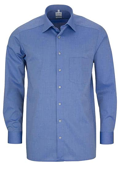 OLYMP Tendenz regular fit Hemd Langarm Chambray dunkelblau