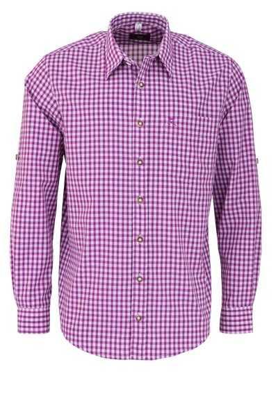 OS-TRACHTEN Regular Fit Hemd Langarm New Kent Kragen Karo lila - Hemden Meister