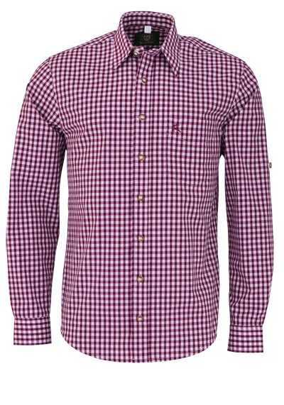 OS-TRACHTEN Regular Fit Hemd Langarm New Kent Kragen Karo dunkelrot - Hemden Meister