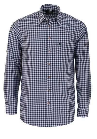 OS-TRACHTEN Regular Fit Hemd Langarm New Kent Kragen Karo dunkelgrün - Hemden Meister