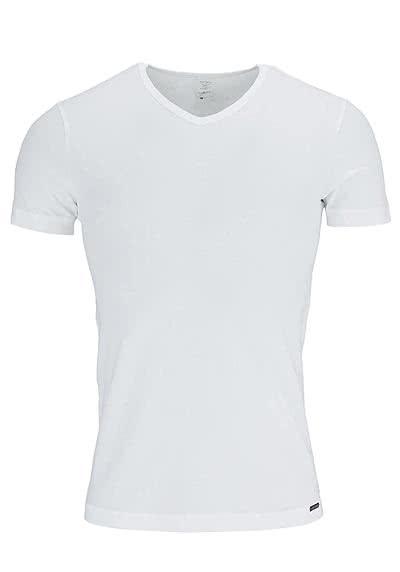 OLAF BENZ Halbarm T-Shirt V-Ausschnitt Baumwollmischung weiß - Hemden Meister