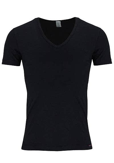 OLAF BENZ Halbarm T-Shirt V-Ausschnitt Baumwollmischung schwarz - Hemden Meister