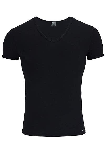 OLAF BENZ Halbarm T-Shirt tiefer V-Ausschnitt Baumwollmischung schwarz - Hemden Meister