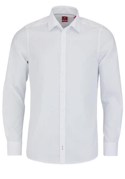 PURE Slim Fit Hemd Langarm New Kent Kragen mit Kragenband weiß - Hemden Meister
