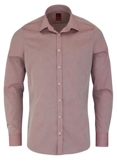 PURE Slim Fit Hemd Langarm New Kent Kragen mit Kragenband rot - Hemden Meister