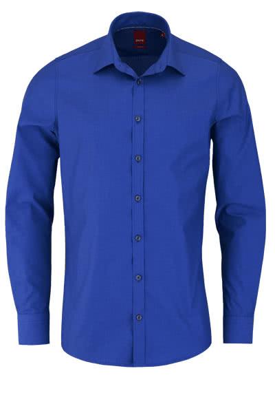 PURE Slim Fit Hemd Langarm New Kent Kragen mit Kragenband rauchblau - Hemden Meister